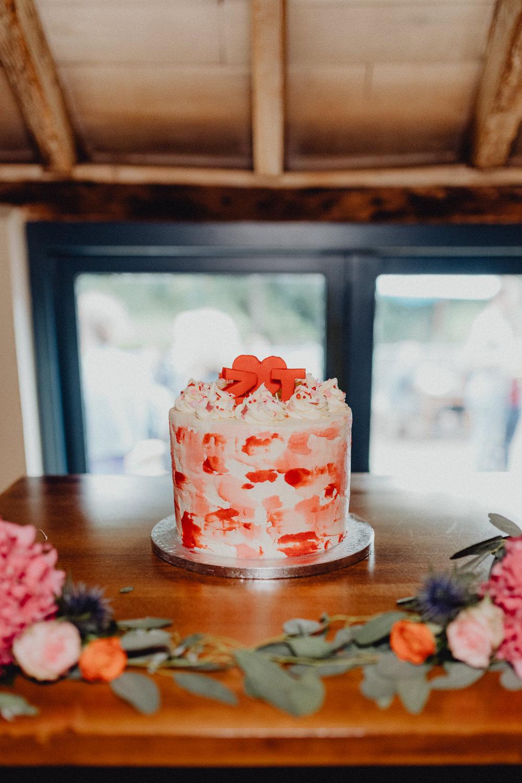 Pink Red Buttercream Cake Intimate Pub Wedding Heather Sham Photography