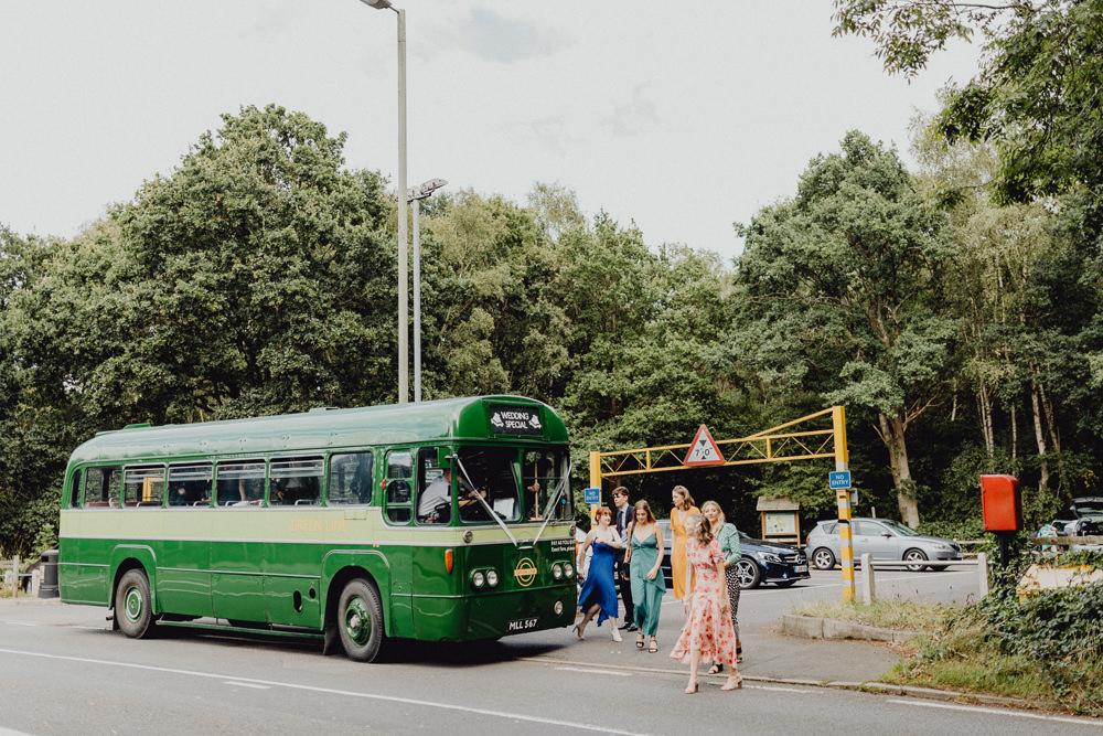Vintage Bus Transport Intimate Pub Wedding Heather Sham Photography