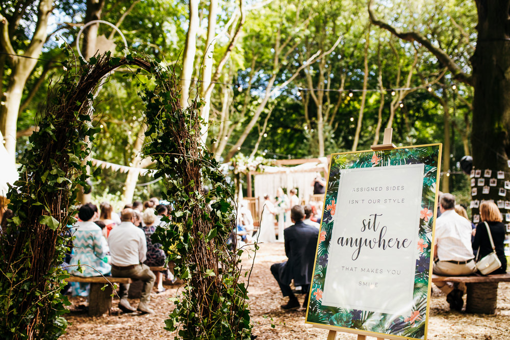 Ceremony Sign Signs Signage Lila's Wood Wedding Two-D Photography