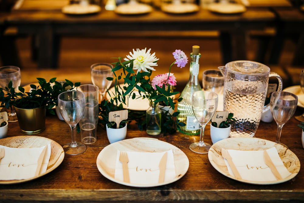 Table Decor Plates Place Setting Lila's Wood Wedding Two-D Photography