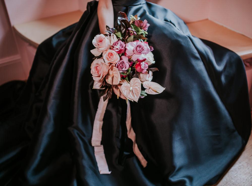 Bouquet Flowers Bride Bridal Flamingo Flower Lily Rose Ribbon Modern Pink Wedding Ideas Aurora Grey Photography