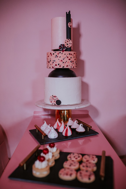 Terrazzo Cake Black Cool Edgy Dessert Table Modern Pink Wedding Ideas Aurora Grey Photography