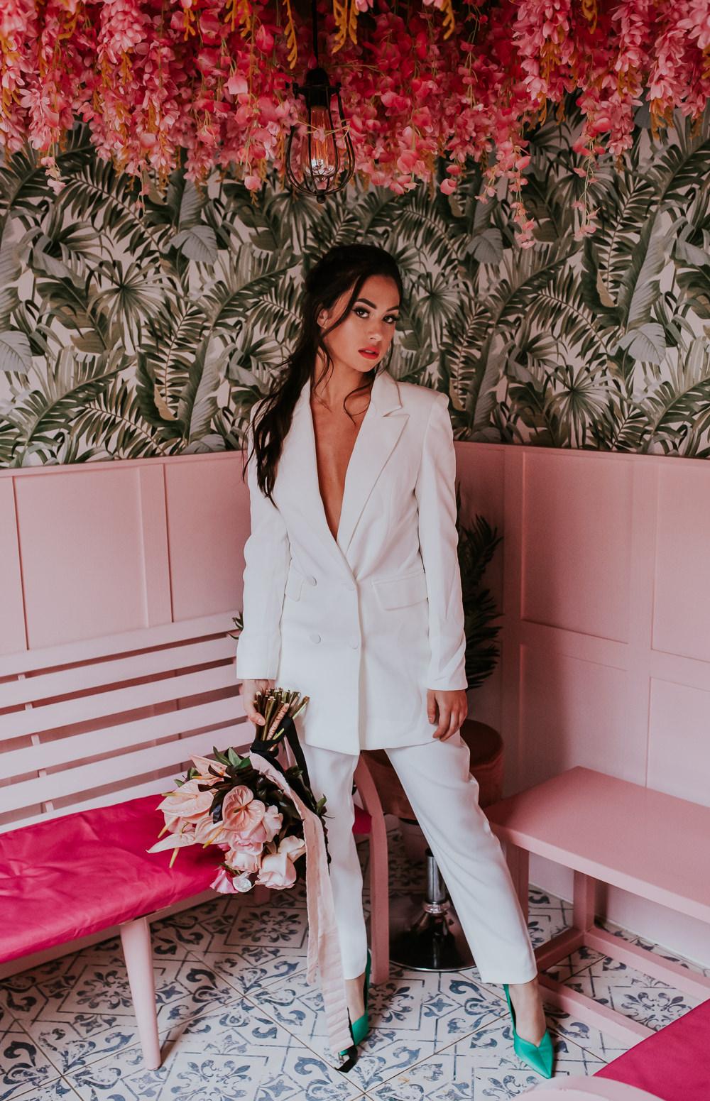 Bride Bridal Suit Cool Edgy Modern Pink Wedding Ideas Aurora Grey Photography