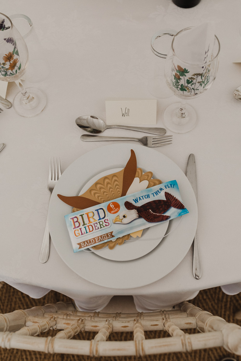Place Setting Decor Bird Glider Facemask Seaside Wedding Oli and Steph Photography