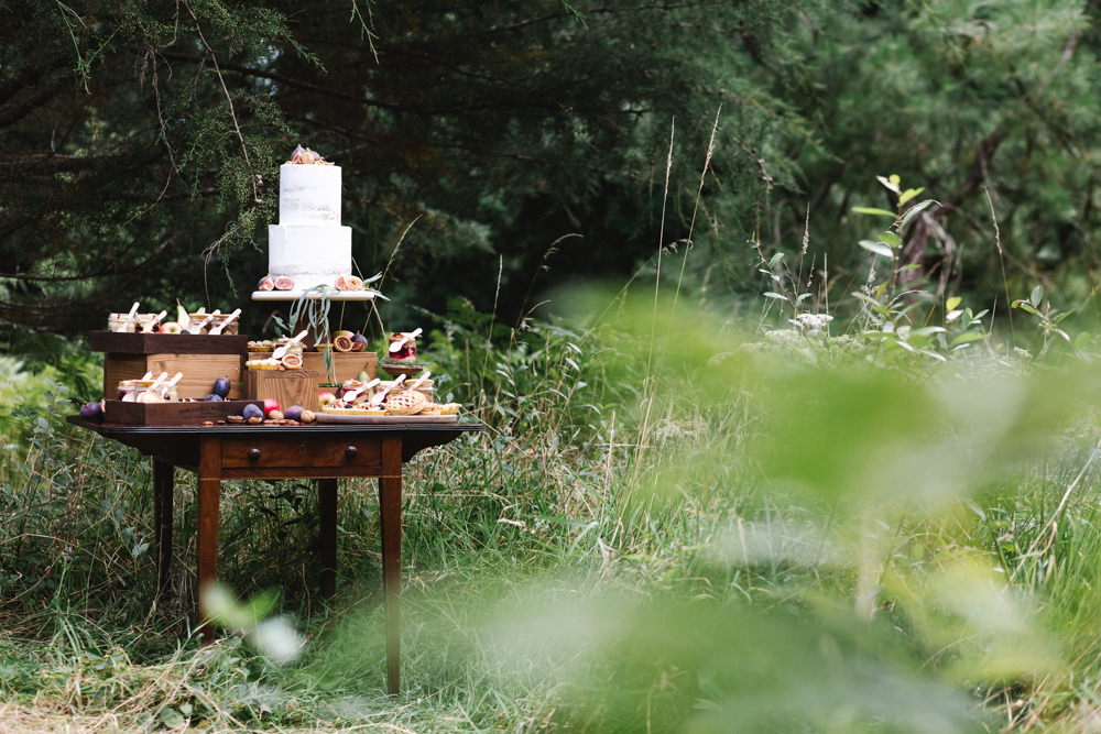 Cake Table Dessert Bar Station Boconnoc Wedding Debs Alexander Photography