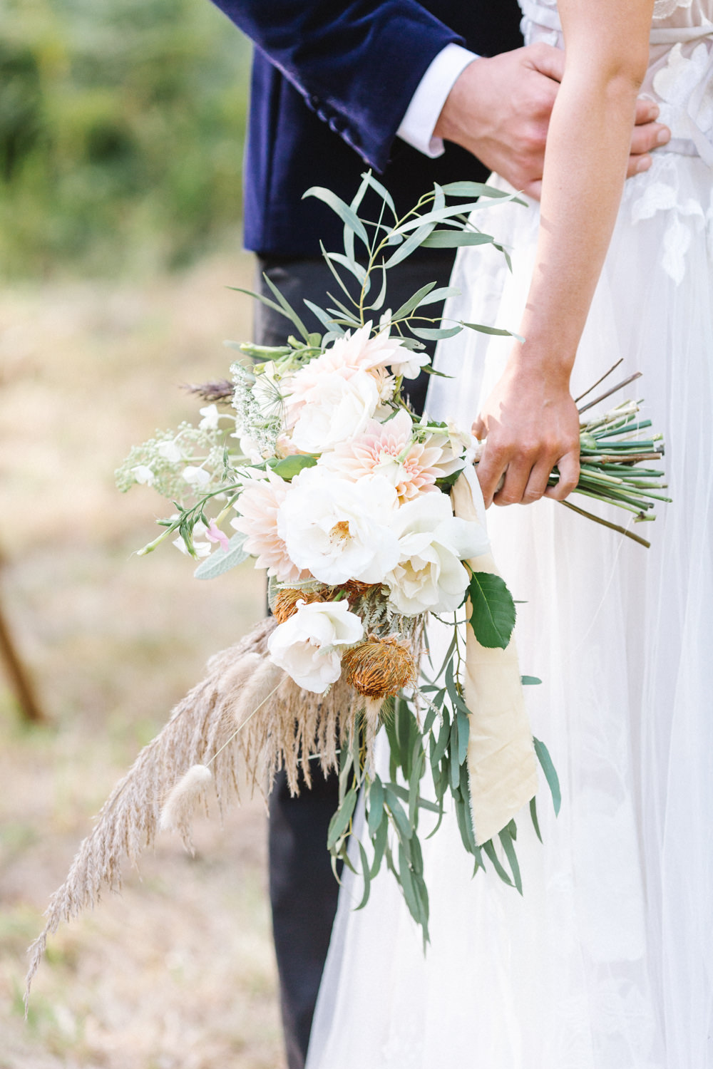 Bouquet Flowers Bride Bridal Rose Dahlias Grass Foliage Ribbon Boconnoc Wedding Debs Alexander Photography