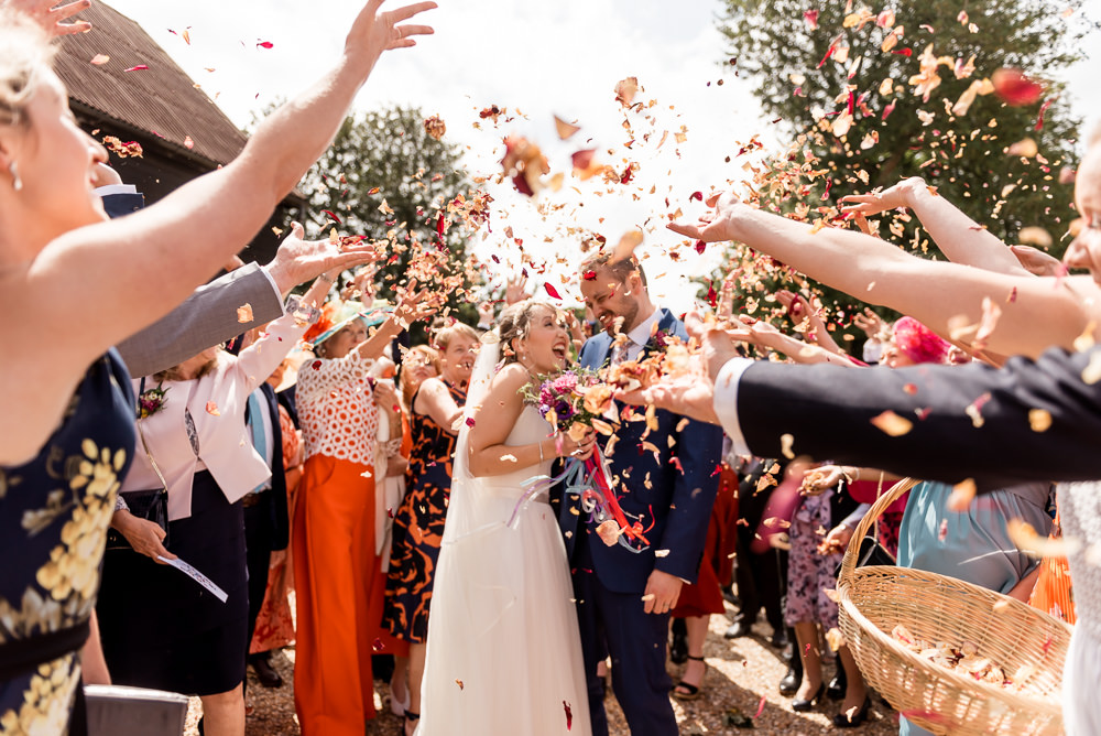 Confetti Throw Bonhams Barn Wedding Will Patrick Photography