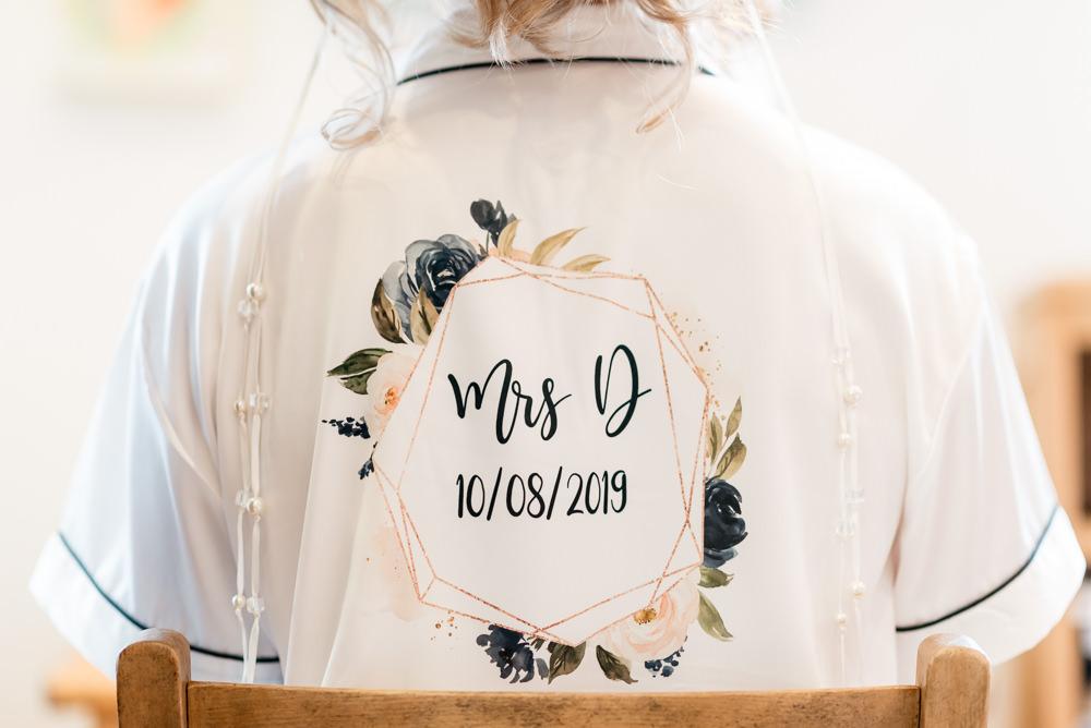 Bride Bridal Dressing Gown Robe Bonhams Barn Wedding Will Patrick Photography