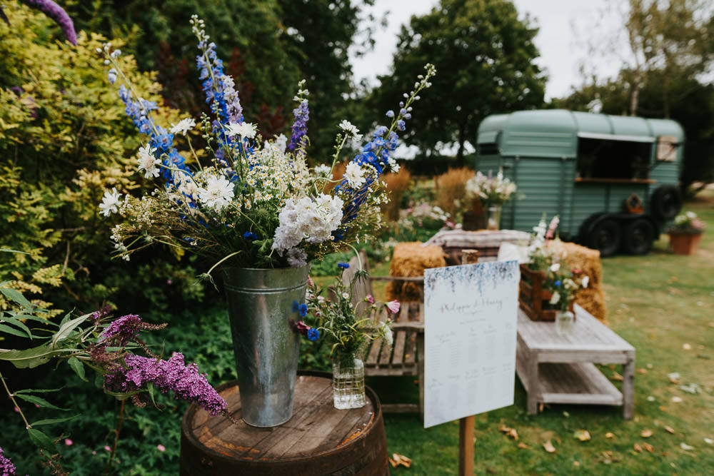 Galvanised Metal Bucket Flowers Country Festival Wedding Jonny Gouldstone Photography