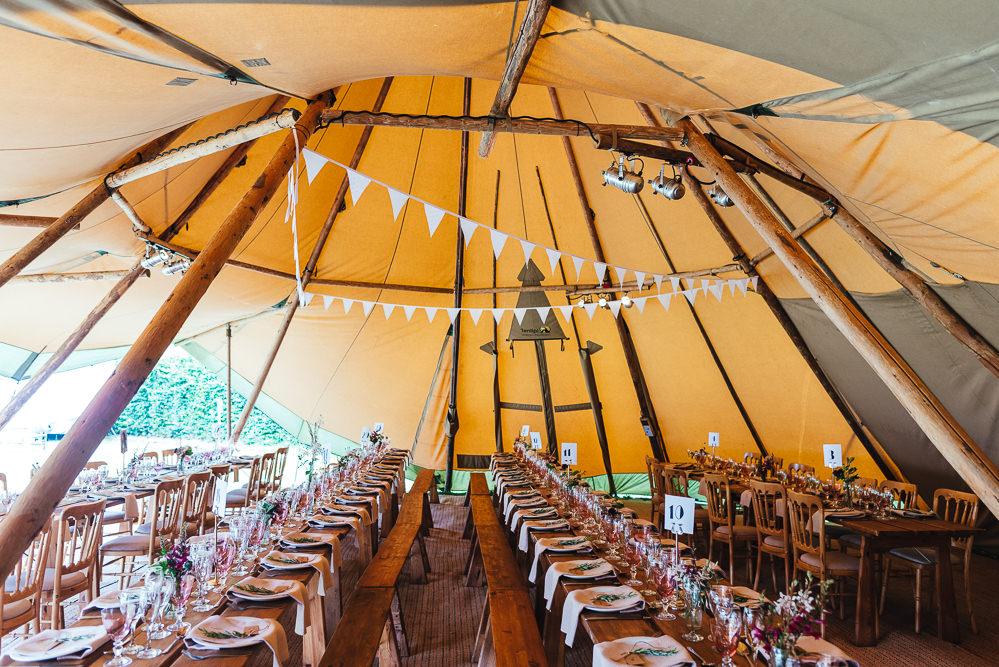 Tipi Bunting Decor Reception Festival Party Wedding Kirsty Mackenzie Photography