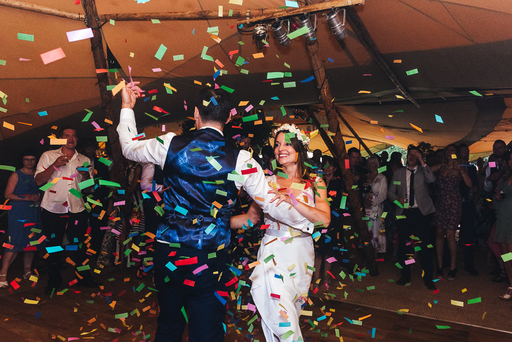 Confetti Cannon First Dance Festival Party Wedding Kirsty Mackenzie Photography