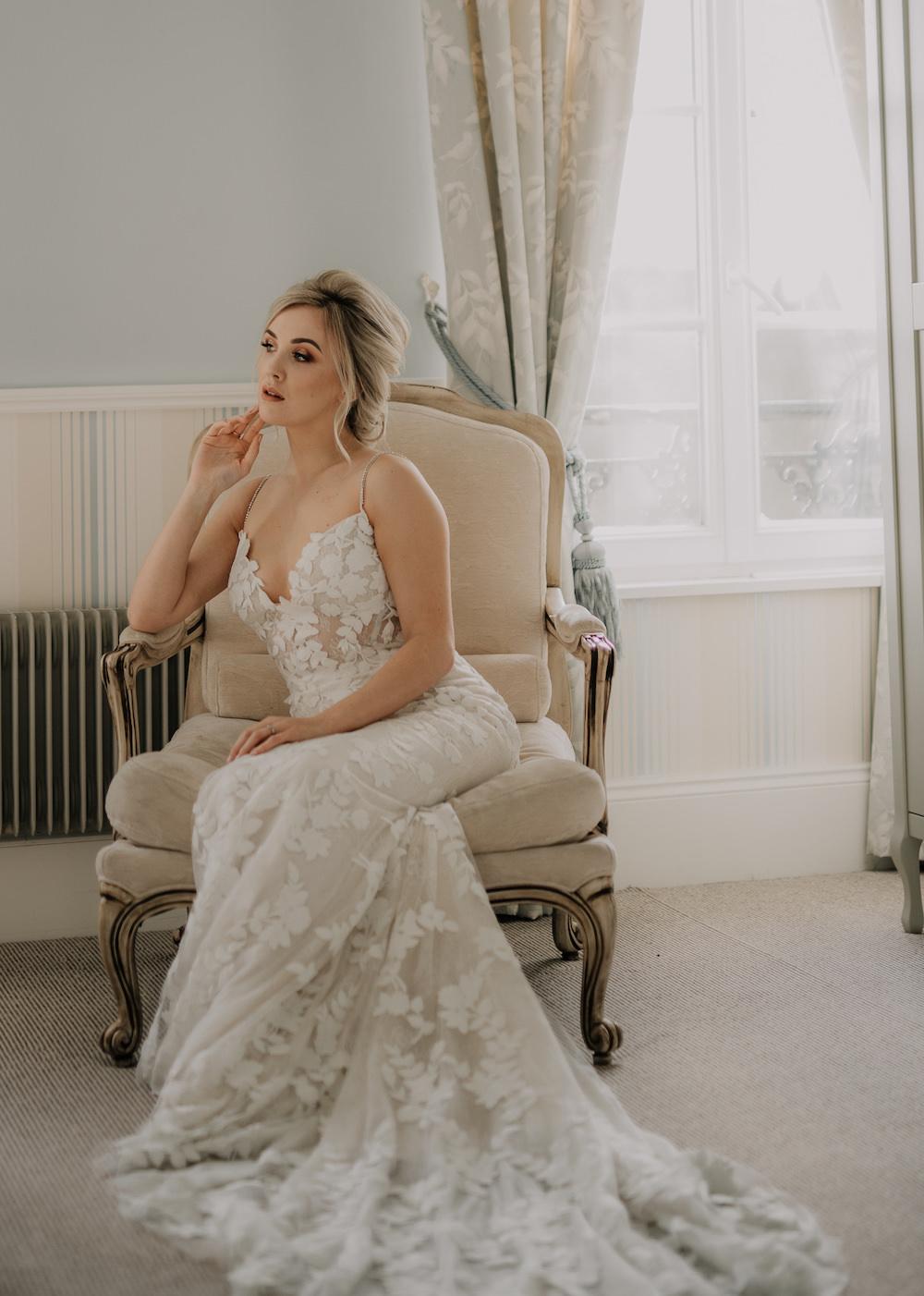 Dress Gown Bride Bridal Lace Fit Flare Train France Elopement Ideas Pierra G Photography