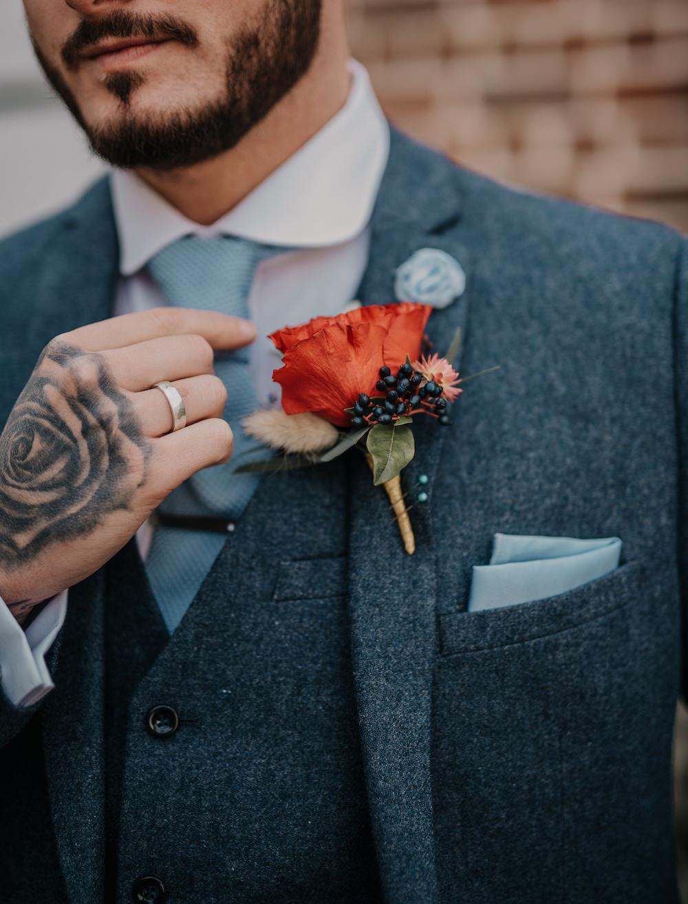 Groom Buttonhole Flowers France Elopement Ideas Pierra G Photography