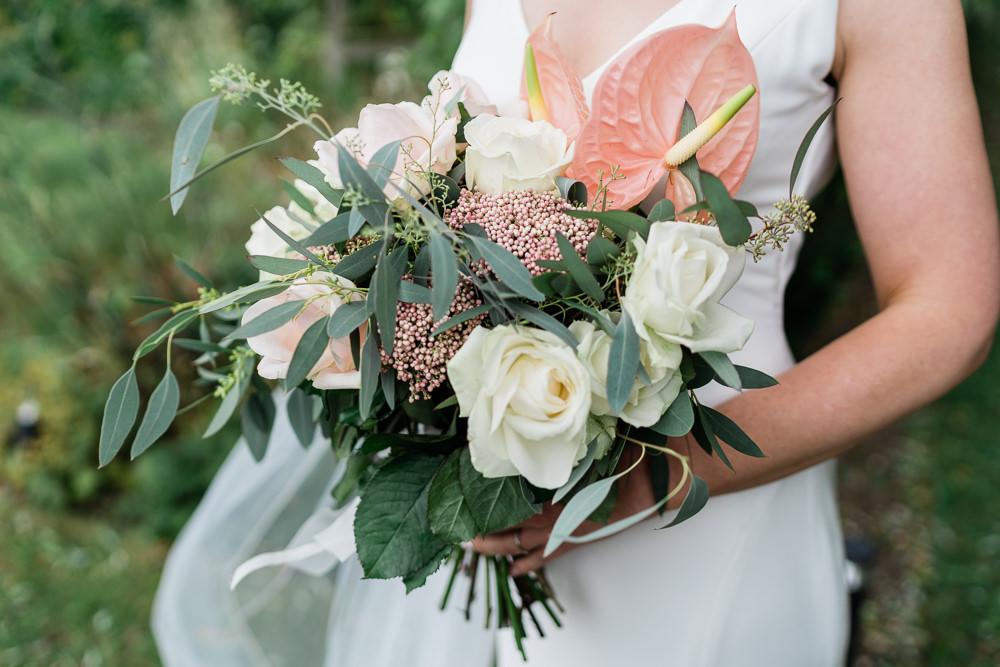 Bouquet Flowers Bride Bridal Protea Lily Flamingo Palms Tropical Great Lodge Wedding Gemma Giorgio Photography
