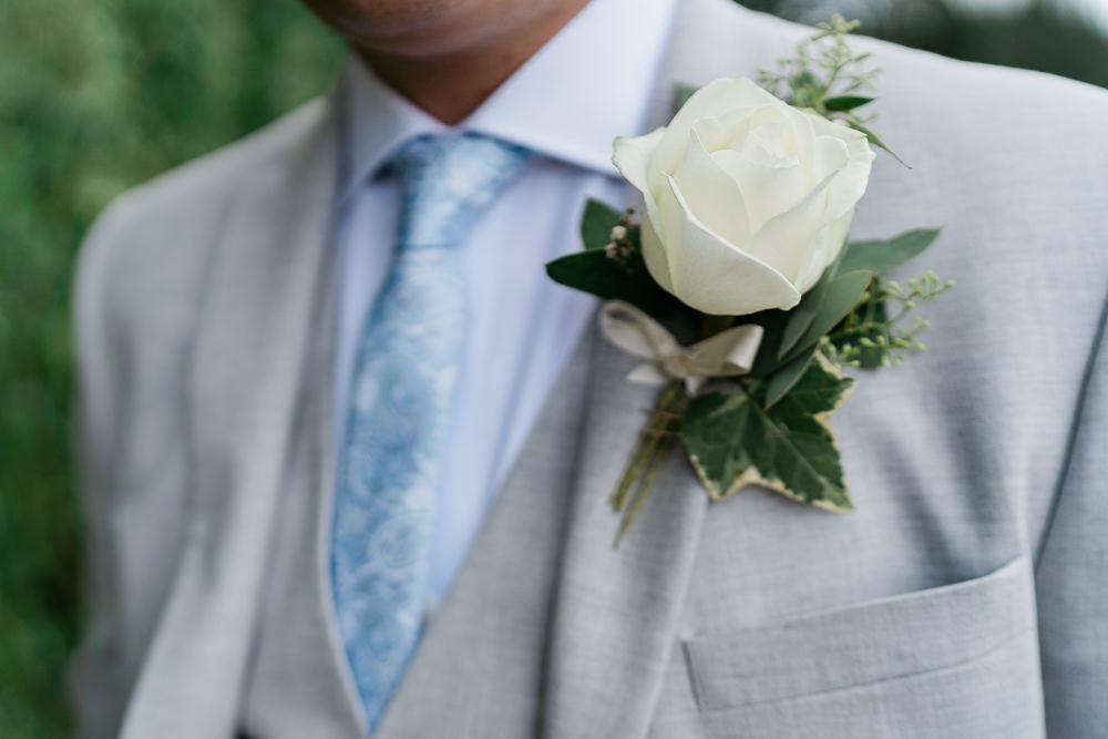 Ivory Rose Buttonhole Groom Great Lodge Wedding Gemma Giorgio Photography