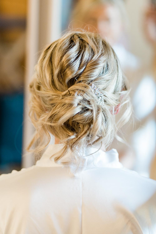 Bride Bridal Hair Style Up Do Great Lodge Wedding Gemma Giorgio Photography