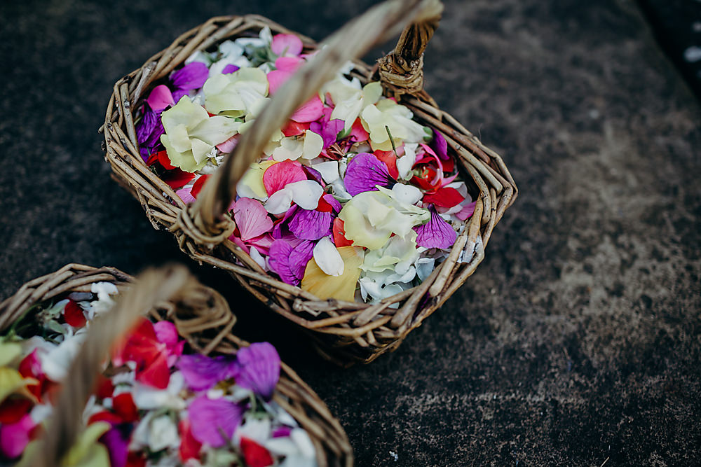Confetti Petals Basket Hadsham Farm Wedding Victoria Somerset How Photography