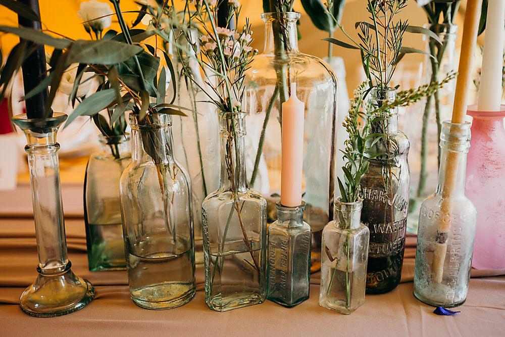 Bottle Flowers Candles Hadsham Farm Wedding Victoria Somerset How Photography