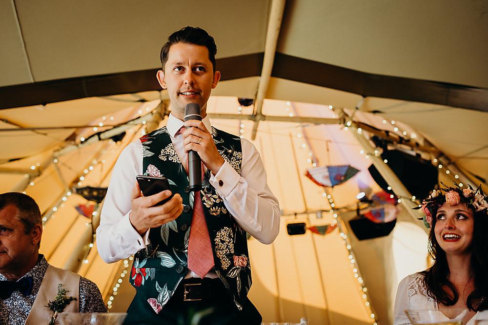 Groom Floral Waistcoat Hadsham Farm Wedding Victoria Somerset How Photography