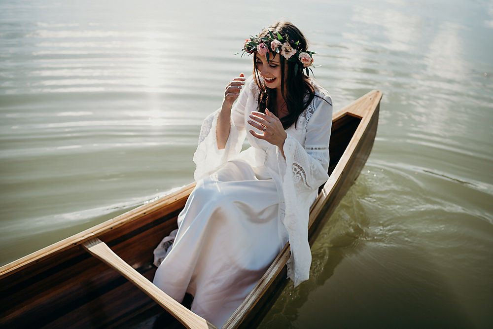 Dress Gown Bride Bridal Spell and the Gypsy 70s Boho Sleeves Hadsham Farm Wedding Victoria Somerset How Photography