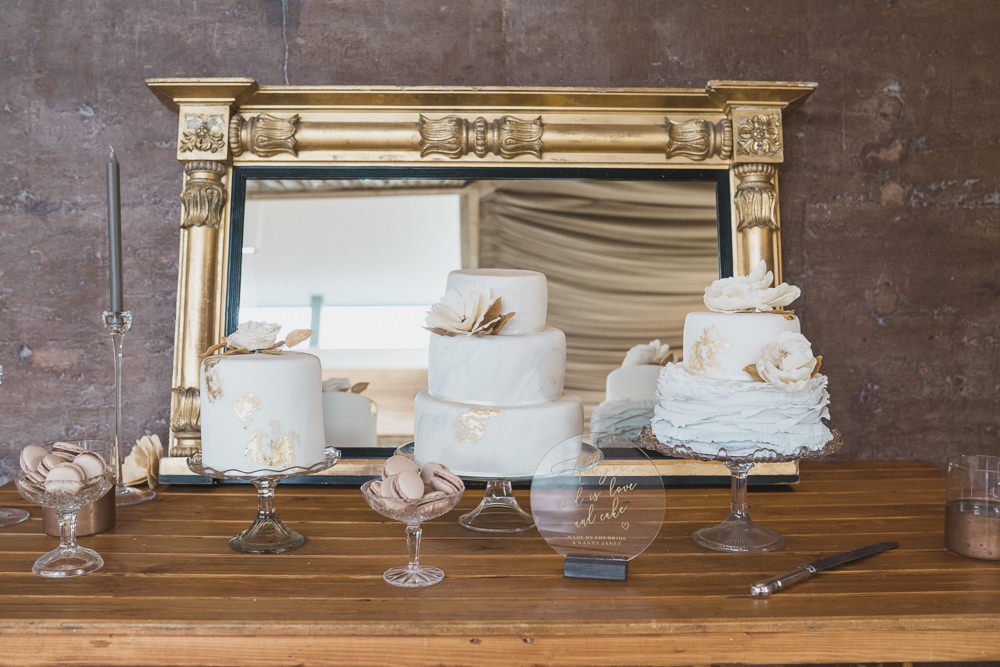 Cake Dessert Table Modern Romantic Wedding Red Maple Photography