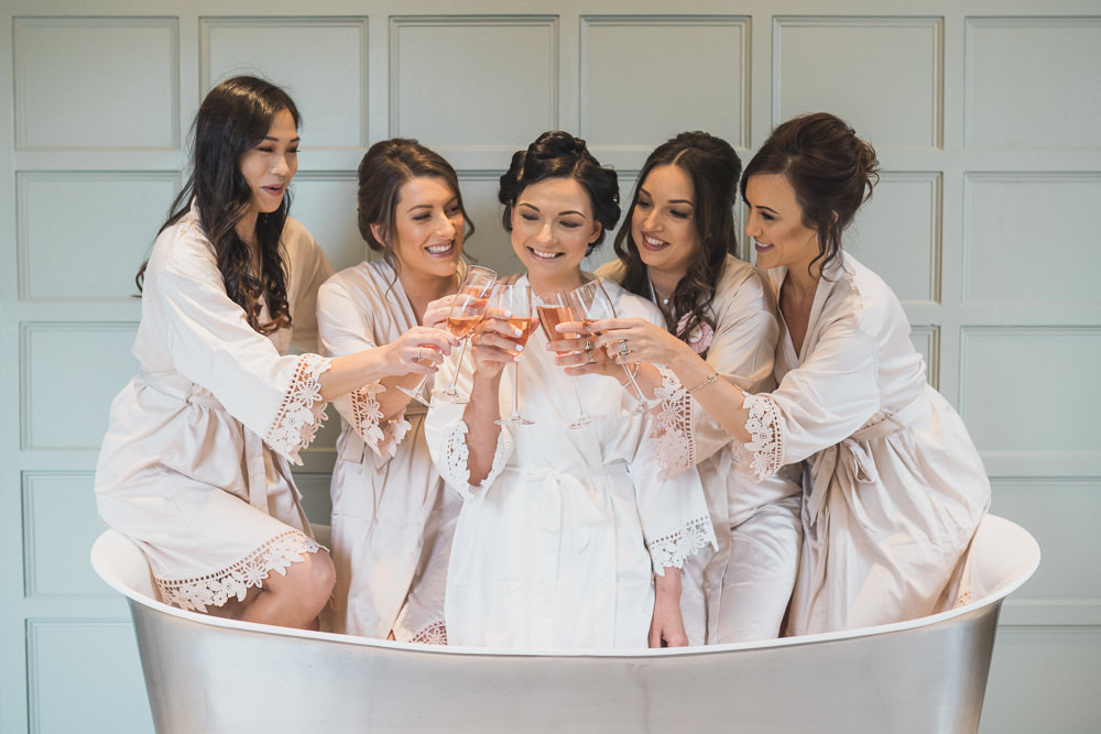 Bride Bridal Bridesmaids Dressing Gowns Robes Modern Romantic Wedding Red Maple Photography