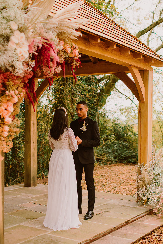 Wooden Arch Gazebo Flowers Woodland Backdrop Outdoor Autumn Wedding Ruby Walker Photography