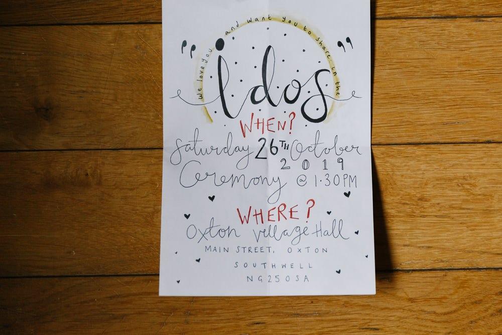 Stationery Invite Invitations Illustrated DIY Village Hall Wedding Emily + Katy Photography