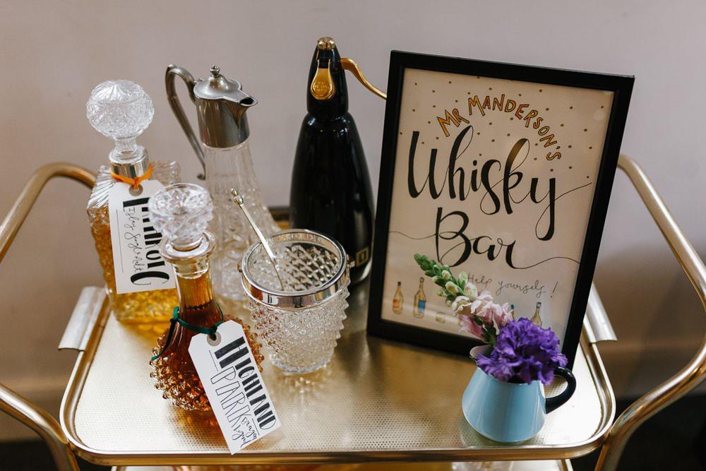 Whiskey Bar Drinks Village Hall Wedding Emily + Katy Photography