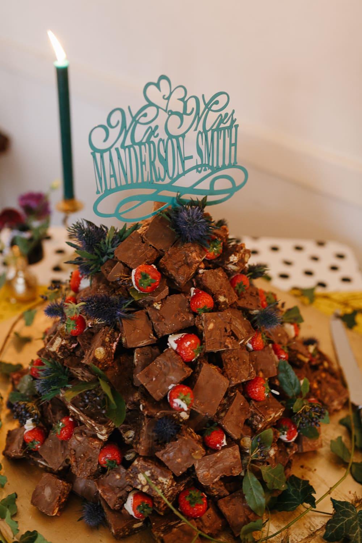 Rocky Roads Cake Tower Stack Village Hall Wedding Emily + Katy Photography
