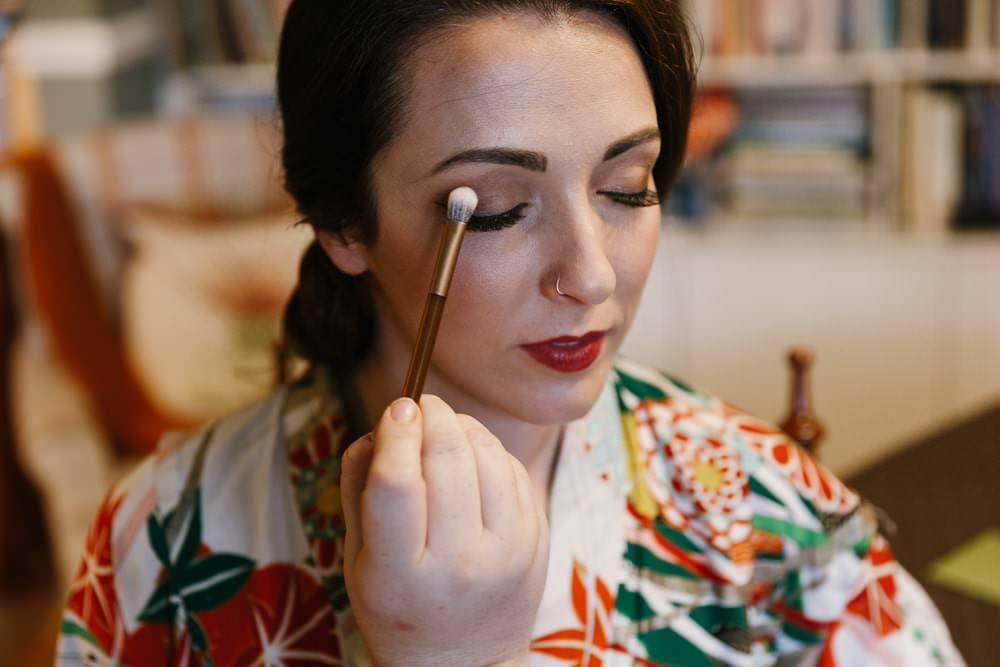 Bride Bridal Make Up Red Lipstick Glam Village Hall Wedding Emily + Katy Photography