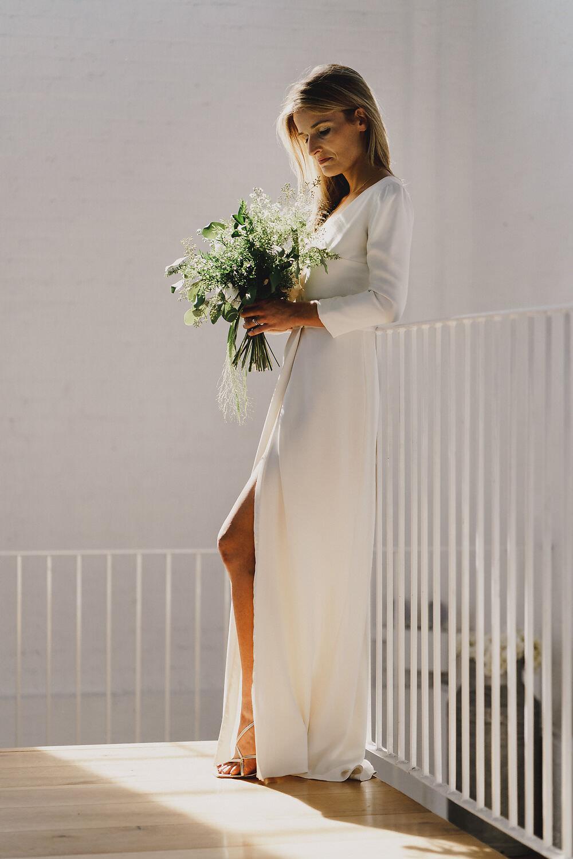 Dress Gown Bride Bridal Laure de Sagazan Long Sleeves Flowing Spilt Winding House Wedding MIKI Studios