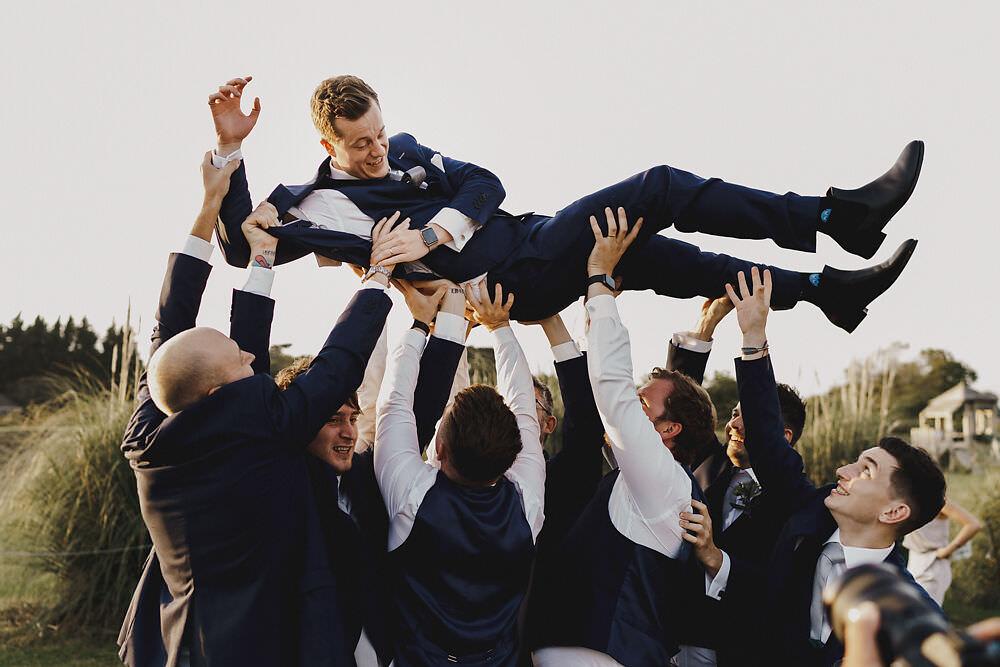 Groom Suit Navy Grey Tie Groomsmen Winding House Wedding MIKI Studios
