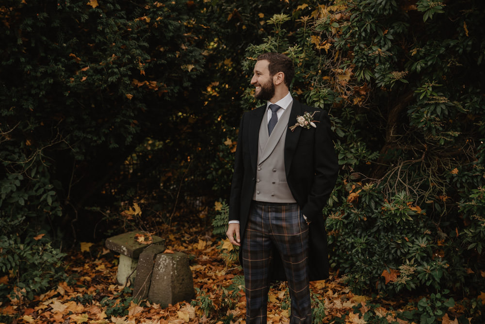 Groom Suit Groomsmen Tails Tartan Trousers Family Farm Wedding Janine Kirkwood Photography