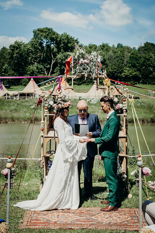 Ceremony Backdrop Arch Wooden Flowers Hadsham Farm Wedding Victoria Somerset How Photography