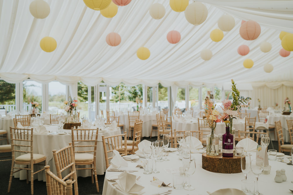 Marquee Yellow Peach Pink Lanterns High House Weddings Grace Elizabeth Photography