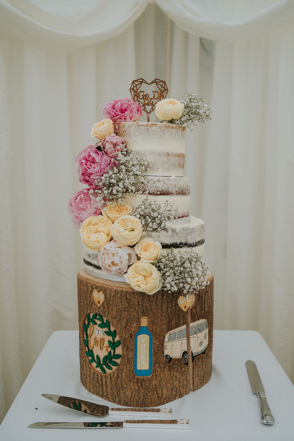 Semi Naked Cake Flowers Yellow Pink Log Stand Wooden High House Weddings Grace Elizabeth Photography