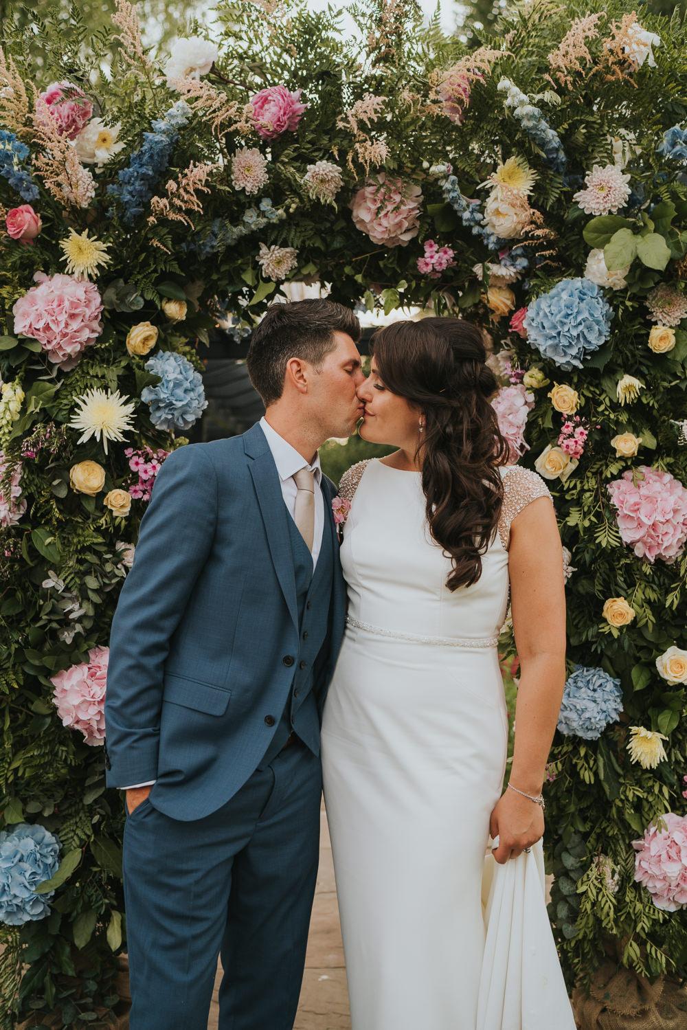 High House Weddings Grace Elizabeth Photography Flower Arch Pink Blue Hydrangea Astilbe