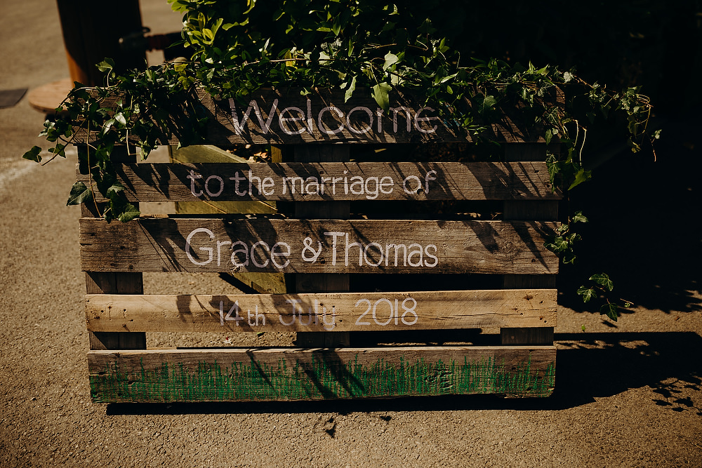 Wooden Pallet Sign Signs Signage Hornington Manor Wedding Richard Skins Photography