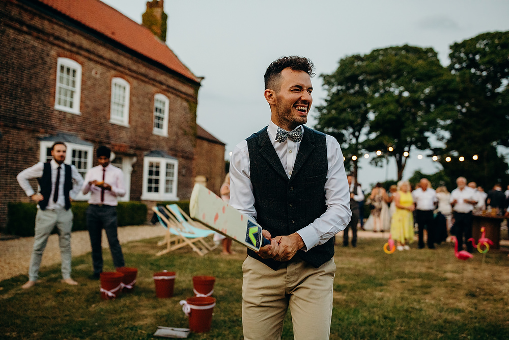 Groom Suit Tweed Jacket Waistcoat Bow Tie Trousers Hornington Manor Wedding Richard Skins Photography