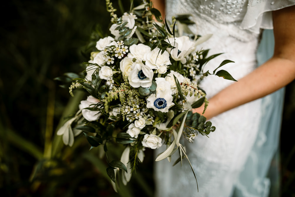 Bride Bridal Bouquet Flowers White Greenery Anemone Industrial Mill Wedding Hayley Baxter Photography