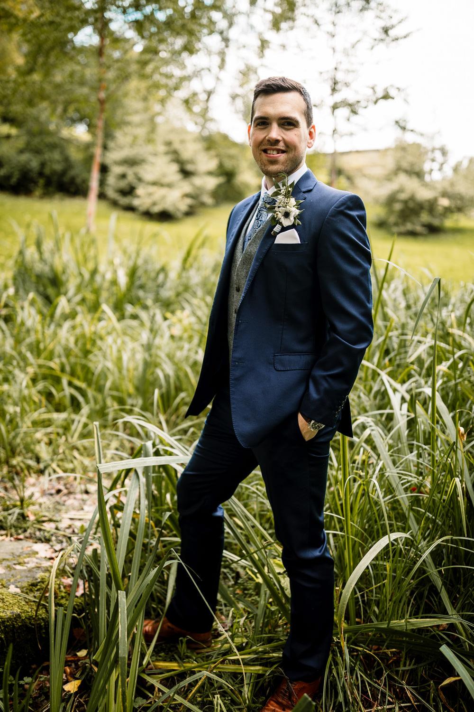 Groom Suit Navy Grey Waistcoat Tie Mill Wedding Hayley Baxter Photography