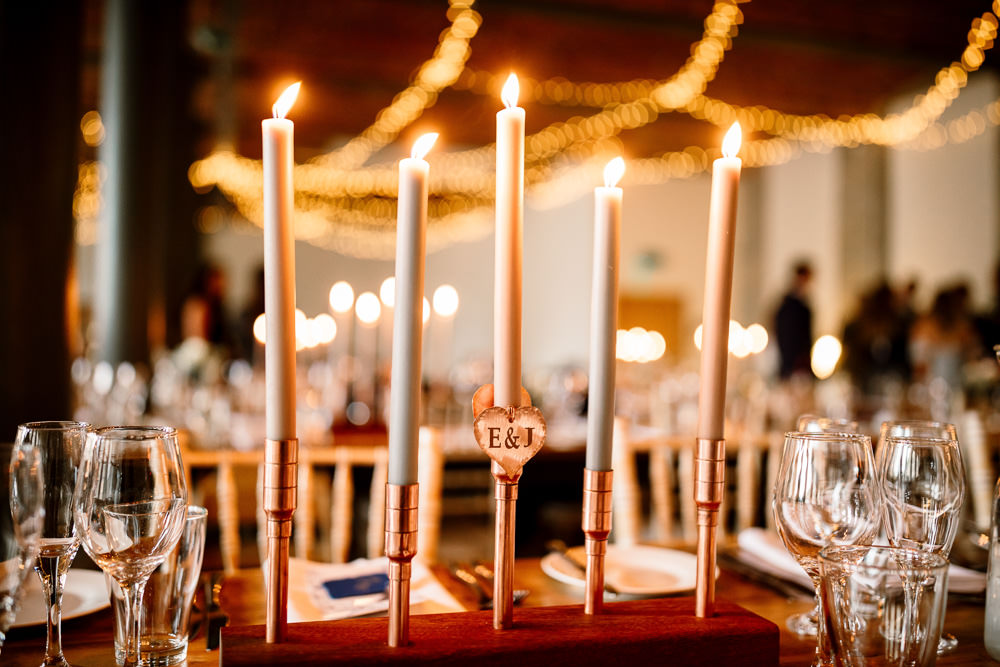 Tall Candles Decor Table Industrial Mill Wedding Hayley Baxter Photography