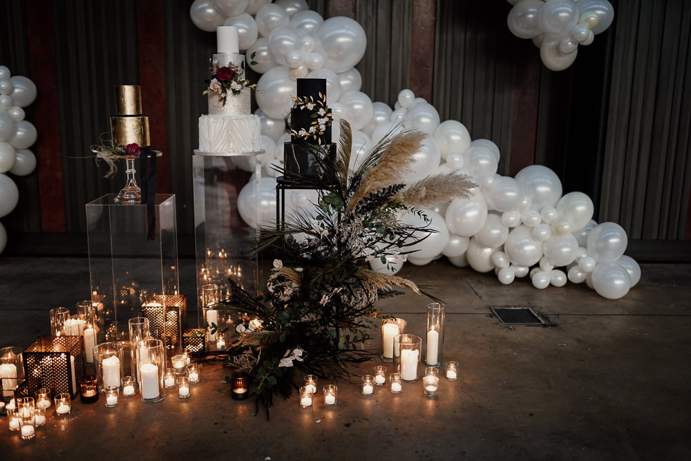Cake Table Dessert Balloon Installation Candles Industrial Wedding Ideas Sam Sparks Photography