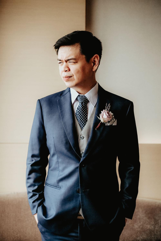 Groom Suit Blue Grey Waistcoat Polka Dot Tie Philippines Wedding The Backyard Studios