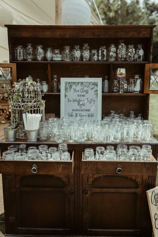 Drinks Bar Stand Station Furtiture Dresser Red Brick Barn Wedding Jess Soper Photography