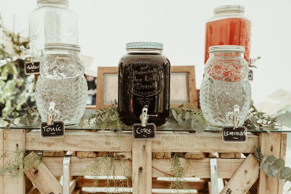 Drinks Dispensers Red Brick Barn Wedding Jess Soper Photography