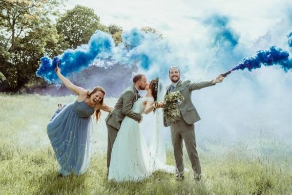 Red Brick Barn Wedding Jess Soper Photography Smoke Bomb Photo Portrait Photos