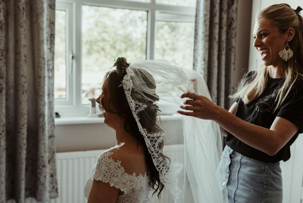 Bride Bridal Dress Gown Rebecca Ingram Maggie Sottero Lace Veil Red Brick Barn Wedding Jess Soper Photography