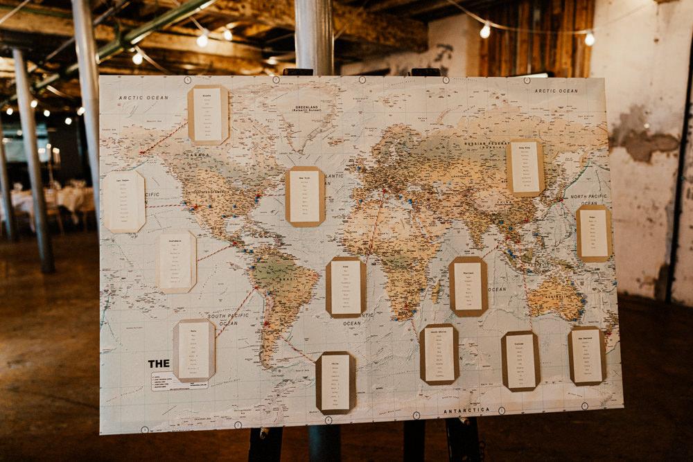 Travel Map Table Plan Seating Chart Brewery Wedding Ginger Beard Weddings